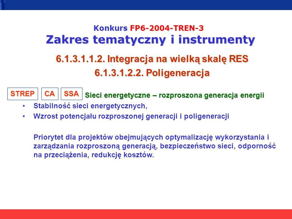 Konkurs FP6-2004-TREN-3 Zakres tematyczny i instrumenty 6.1.3.1.1.2. Integracja na wielką skalę RES 6.1.3.1.2.2. Poligeneracja Sieci energetyczne – ro