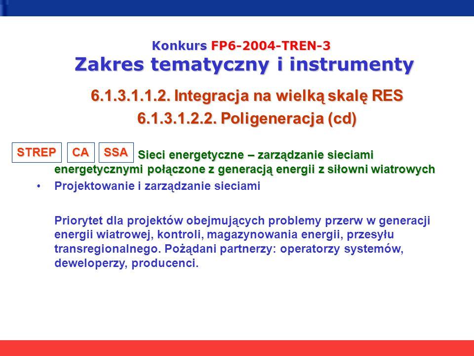 Konkurs FP6-2004-TREN-3 Zakres tematyczny i instrumenty 6.1.3.1.1.2. Integracja na wielką skalę RES 6.1.3.1.2.2. Poligeneracja (cd) Sieci energetyczne