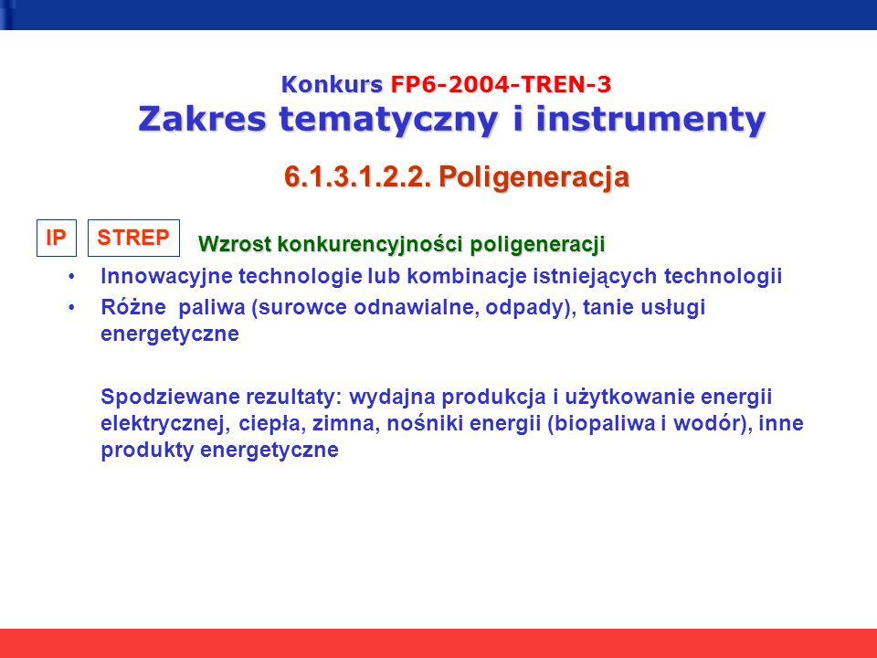 Konkurs FP6-2004-TREN-3 Zakres tematyczny i instrumenty 6.1.3.1.2.2. Poligeneracja Wzrost konkurencyjności poligeneracji Wzrost konkurencyjności polig