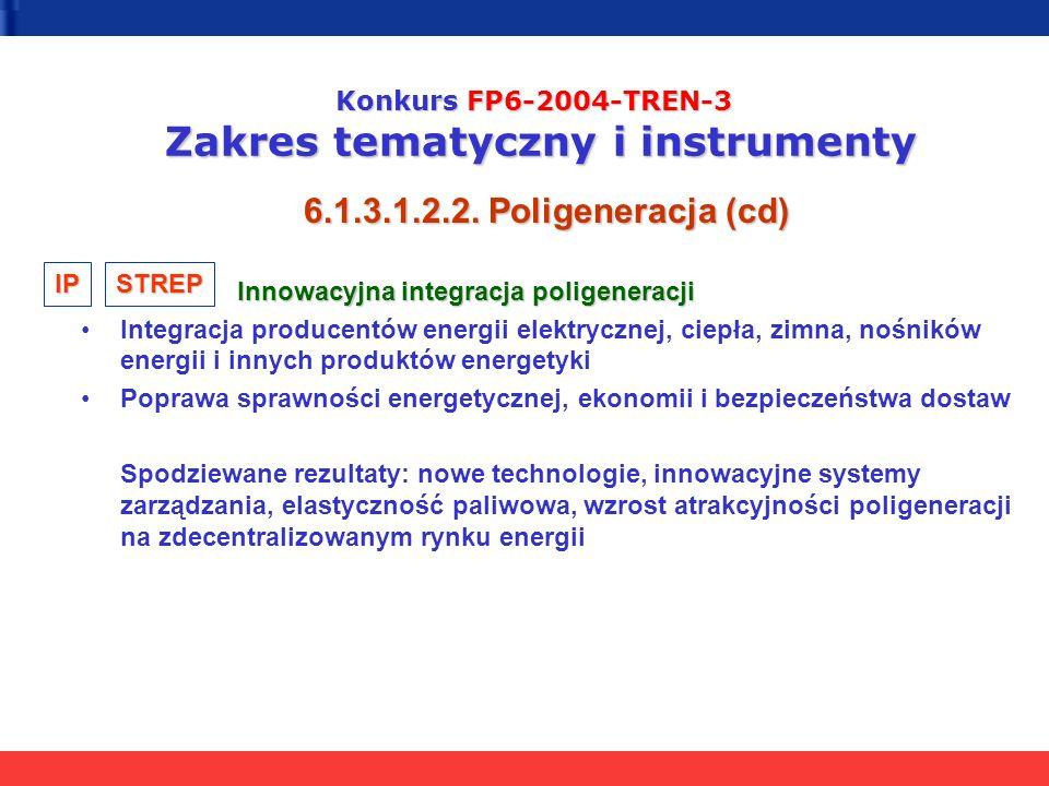 Konkurs FP6-2004-TREN-3 Zakres tematyczny i instrumenty 6.1.3.1.2.2. Poligeneracja (cd) Innowacyjna integracja poligeneracji Innowacyjna integracja po