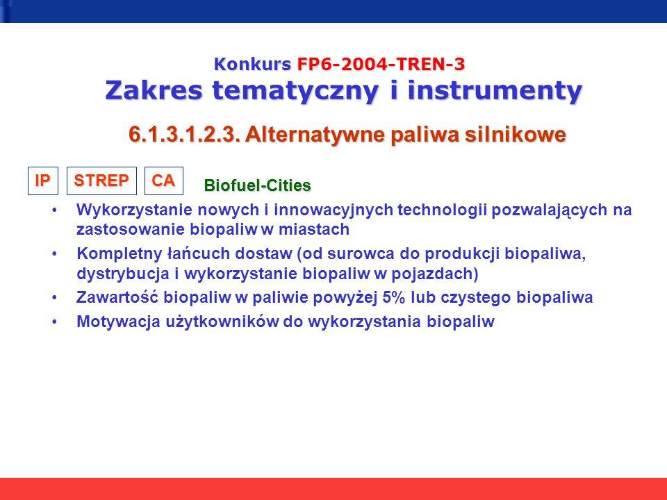 Konkurs FP6-2004-TREN-3 Zakres tematyczny i instrumenty 6.1.3.1.2.3. Alternatywne paliwa silnikowe Biofuel-Cities Biofuel-Cities Wykorzystanie nowych