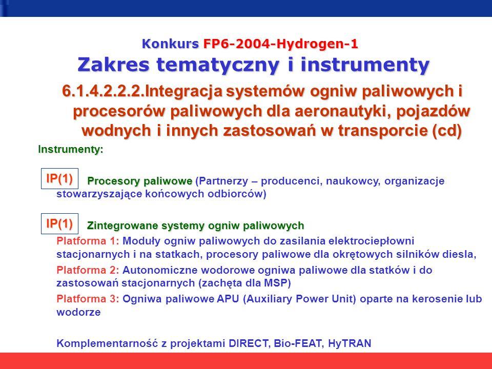 Konkurs FP6-2004-Hydrogen-1 Zakres tematyczny i instrumenty 6.1.4.2.2.2.Integracja systemów ogniw paliwowych i procesorów paliwowych dla aeronautyki, pojazdów wodnych i innych zastosowań w transporcie (cd) Instrumenty: Procesory paliwowe Procesory paliwowe (Partnerzy – producenci, naukowcy, organizacje stowarzyszające końcowych odbiorców) Zintegrowane systemy ogniw paliwowych Platforma 1: Moduły ogniw paliwowych do zasilania elektrociepłowni stacjonarnych i na statkach, procesory paliwowe dla okrętowych silników diesla, Platforma 2: Autonomiczne wodorowe ogniwa paliwowe dla statków i do zastosowań stacjonarnych (zachęta dla MSP) Platforma 3: Ogniwa paliwowe APU (Auxiliary Power Unit) oparte na kerosenie lub wodorze Komplementarność z projektami DIRECT, Bio-FEAT, HyTRAN IP(1) IP(1)