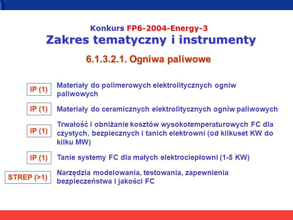 Konkurs FP6-2004-Energy-3 Zakres tematyczny i instrumenty 6.1.3.2.1. Ogniwa paliwowe Materiały do polimerowych elektrolitycznych ogniw paliwowych Mate