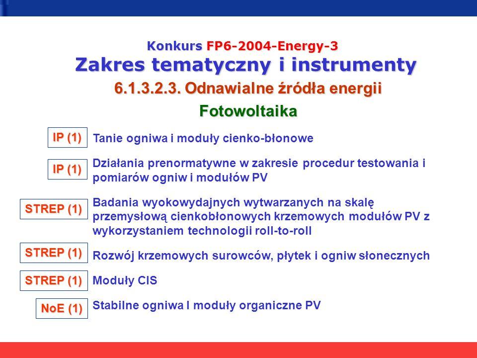 Konkurs FP6-2004-Energy-3 Zakres tematyczny i instrumenty 6.1.3.2.3. Odnawialne źródła energii Fotowoltaika Tanie ogniwa i moduły cienko-błonowe Dział