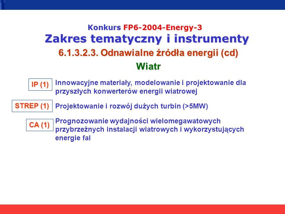 Konkurs FP6-2004-Energy-3 Zakres tematyczny i instrumenty 6.1.3.2.3. Odnawialne źródła energii (cd) Wiatr Innowacyjne materiały, modelowanie i projekt