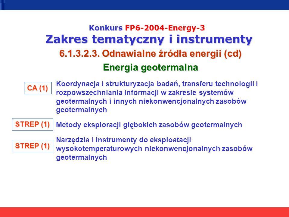 Konkurs FP6-2004-Energy-3 Zakres tematyczny i instrumenty 6.1.3.2.3. Odnawialne źródła energii (cd) Energia geotermalna Koordynacja i strukturyzacja b