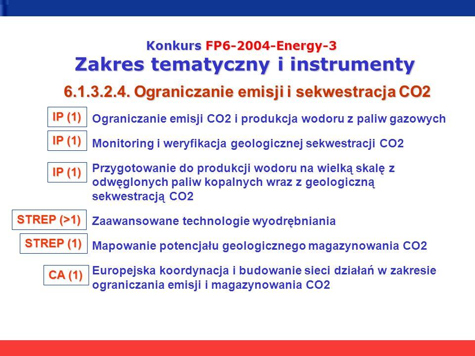 Konkurs FP6-2004-Energy-3 Zakres tematyczny i instrumenty 6.1.3.2.4. Ograniczanie emisji i sekwestracja CO2 Ograniczanie emisji CO2 i produkcja wodoru