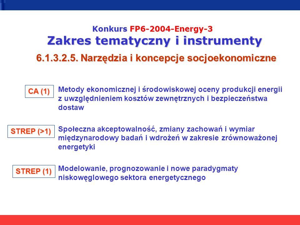 Konkurs FP6-2004-Energy-3 Zakres tematyczny i instrumenty 6.1.3.2.5. Narzędzia i koncepcje socjoekonomiczne Metody ekonomicznej i środowiskowej oceny