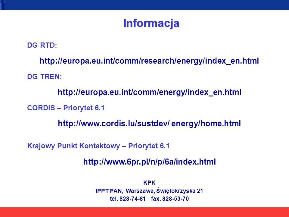 Informacja DG RTD: http://europa.eu.int/comm/research/energy/index_en.html DG TREN: http://europa.eu.int/comm/energy/index_en.html CORDIS – Priorytet