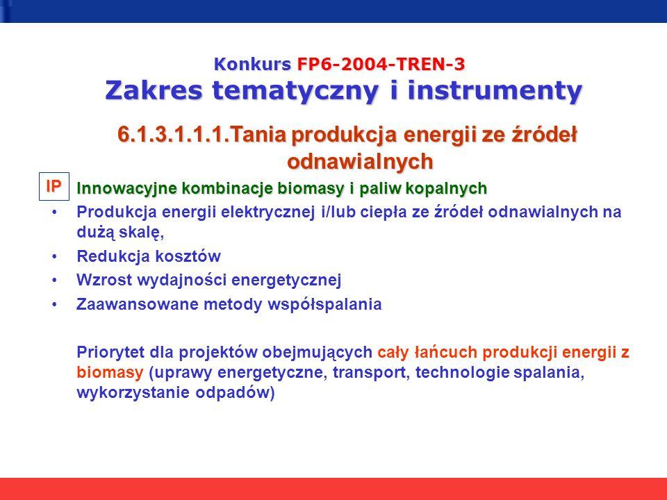 Konkurs FP6-2004-TREN-3 Zakres tematyczny i instrumenty 6.1.3.1.1.1.Tania produkcja energii ze źródeł odnawialnych Innowacyjne kombinacje biomasy i paliw kopalnych Produkcja energii elektrycznej i/lub ciepła ze źródeł odnawialnych na dużą skalę, Redukcja kosztów Wzrost wydajności energetycznej Zaawansowane metody współspalania Priorytet dla projektów obejmujących cały łańcuch produkcji energii z biomasy (uprawy energetyczne, transport, technologie spalania, wykorzystanie odpadów) IP