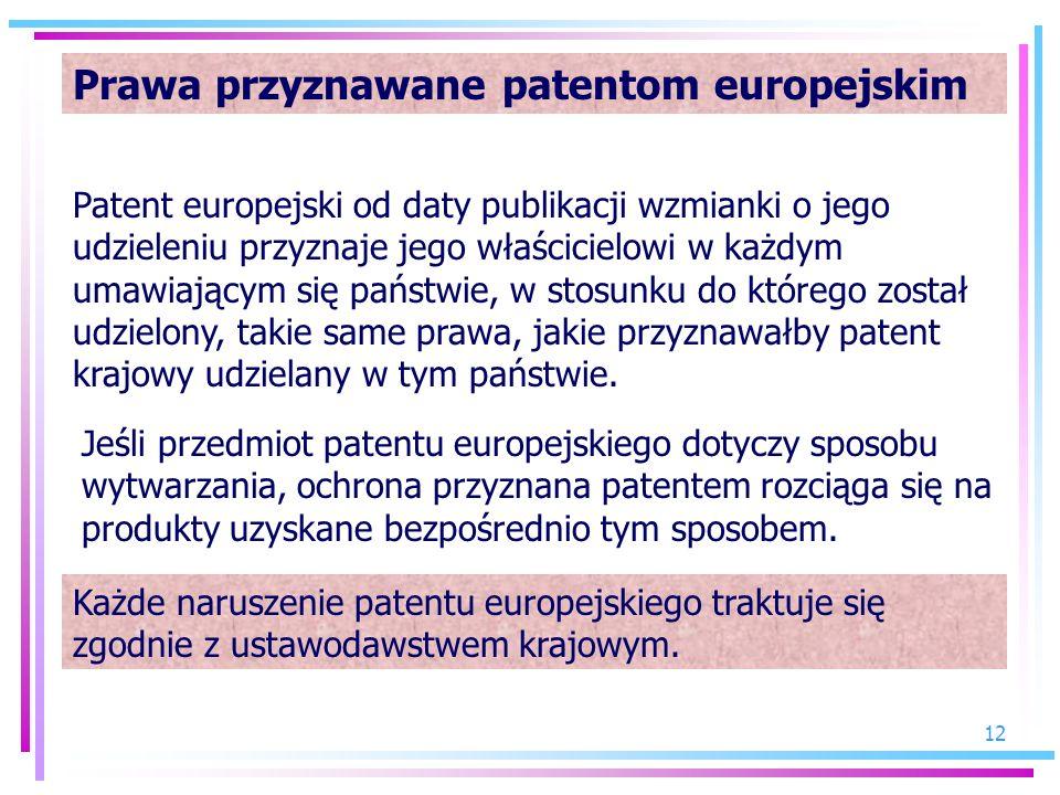12 Prawa przyznawane patentom europejskim Patent europejski od daty publikacji wzmianki o jego udzieleniu przyznaje jego właścicielowi w każdym umawia