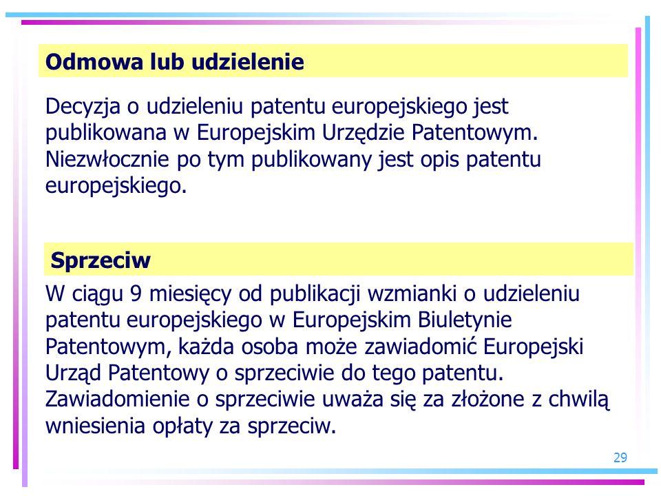 29 Odmowa lub udzielenie Decyzja o udzieleniu patentu europejskiego jest publikowana w Europejskim Urzędzie Patentowym. Niezwłocznie po tym publikowan