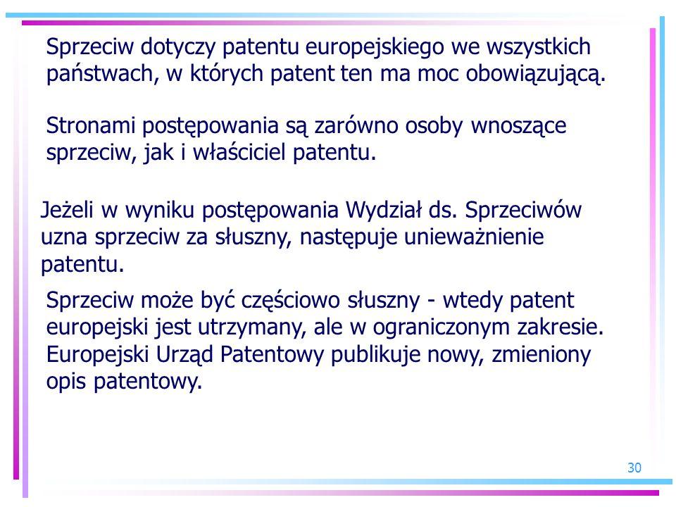 30 Stronami postępowania są zarówno osoby wnoszące sprzeciw, jak i właściciel patentu. Sprzeciw może być częściowo słuszny - wtedy patent europejski j