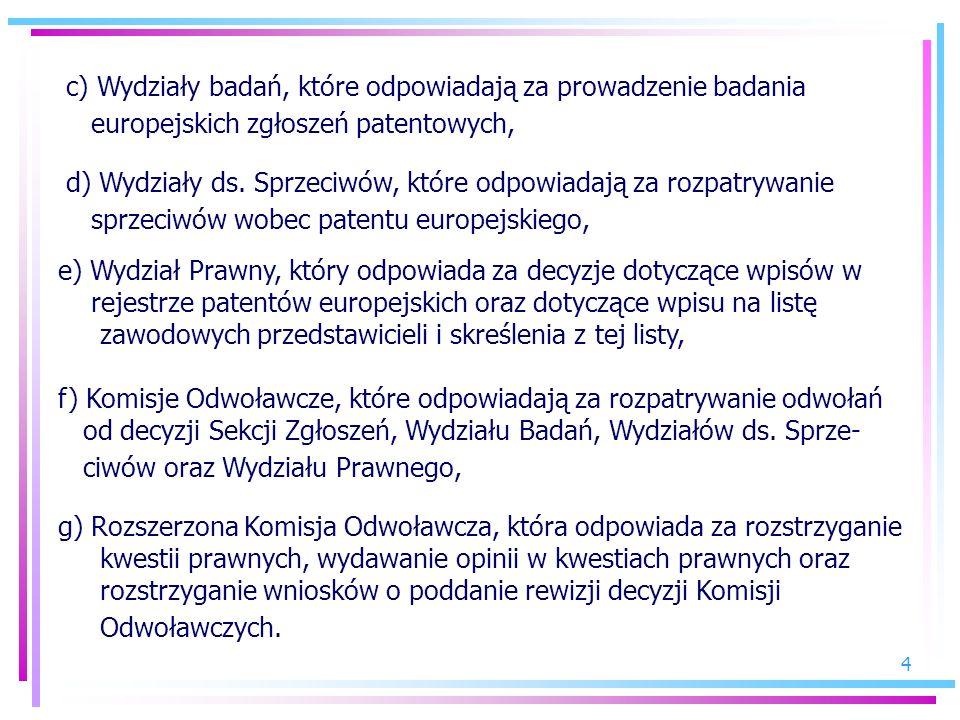 4 c) Wydziały badań, które odpowiadają za prowadzenie badania europejskich zgłoszeń patentowych, d) Wydziały ds. Sprzeciwów, które odpowiadają za rozp
