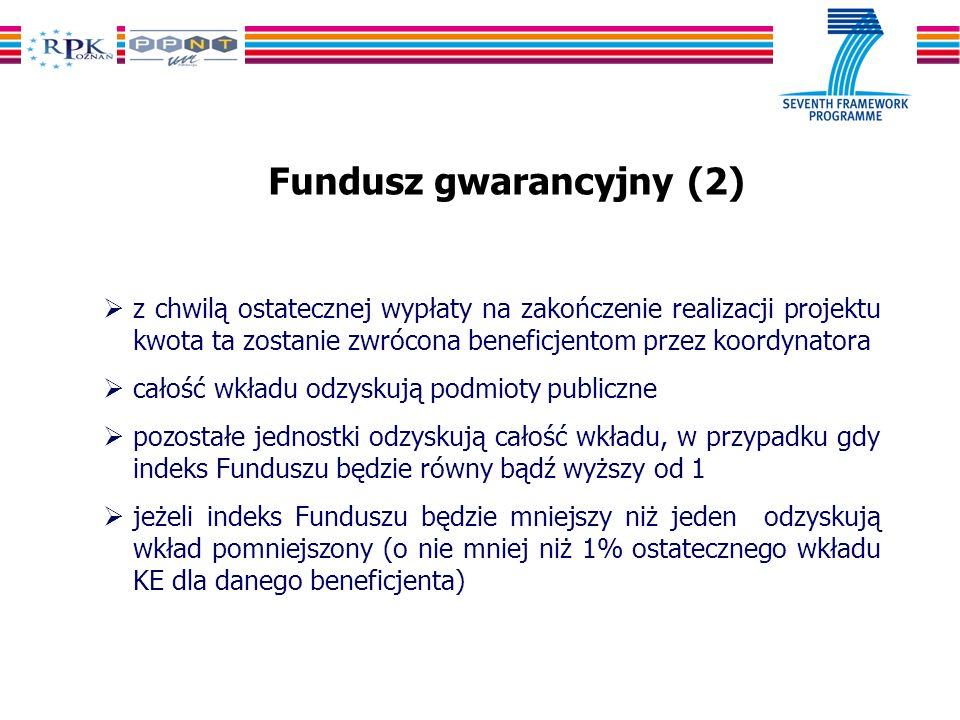 Fundusz gwarancyjny (2) z chwilą ostatecznej wypłaty na zakończenie realizacji projektu kwota ta zostanie zwrócona beneficjentom przez koordynatora całość wkładu odzyskują podmioty publiczne pozostałe jednostki odzyskują całość wkładu, w przypadku gdy indeks Funduszu będzie równy bądź wyższy od 1 jeżeli indeks Funduszu będzie mniejszy niż jeden odzyskują wkład pomniejszony (o nie mniej niż 1% ostatecznego wkładu KE dla danego beneficjenta)