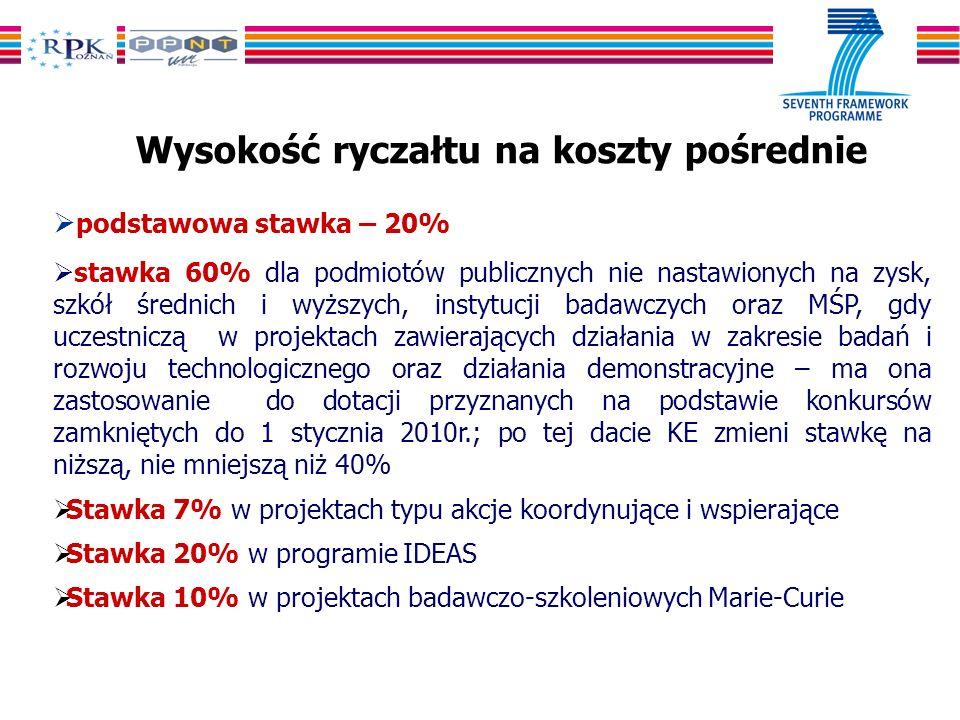 Wysokość ryczałtu na koszty pośrednie podstawowa stawka – 20% stawka 60% dla podmiotów publicznych nie nastawionych na zysk, szkół średnich i wyższych, instytucji badawczych oraz MŚP, gdy uczestniczą w projektach zawierających działania w zakresie badań i rozwoju technologicznego oraz działania demonstracyjne – ma ona zastosowanie do dotacji przyznanych na podstawie konkursów zamkniętych do 1 stycznia 2010r.; po tej dacie KE zmieni stawkę na niższą, nie mniejszą niż 40% Stawka 7% w projektach typu akcje koordynujące i wspierające Stawka 20% w programie IDEAS Stawka 10% w projektach badawczo-szkoleniowych Marie-Curie