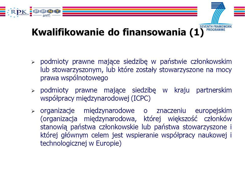 Kwalifikowanie do finansowania (1) podmioty prawne mające siedzibę w państwie członkowskim lub stowarzyszonym, lub które zostały stowarzyszone na mocy prawa wspólnotowego podmioty prawne mające siedzibę w kraju partnerskim współpracy międzynarodowej (ICPC) organizacje międzynarodowe o znaczeniu europejskim (organizacja międzynarodowa, której większość członków stanowią państwa członkowskie lub państwa stowarzyszone i której głównym celem jest wspieranie współpracy naukowej i technologicznej w Europie)