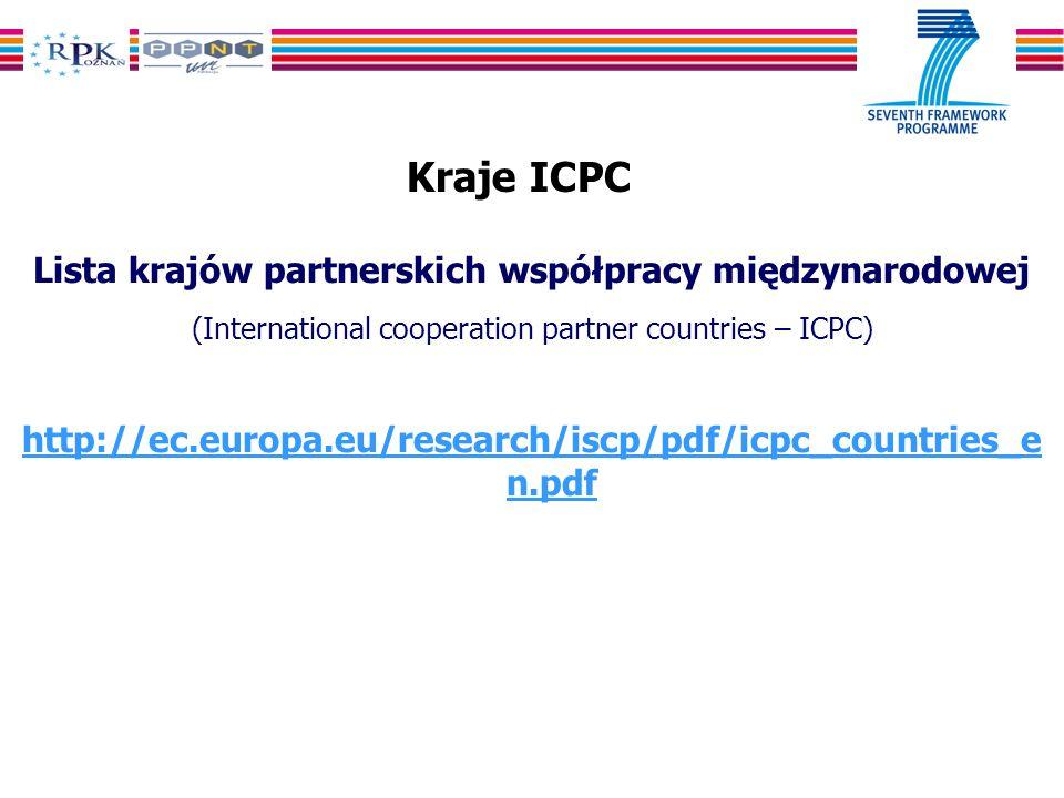 Kraje ICPC Lista krajów partnerskich współpracy międzynarodowej (International cooperation partner countries – ICPC) http://ec.europa.eu/research/iscp/pdf/icpc_countries_e n.pdf