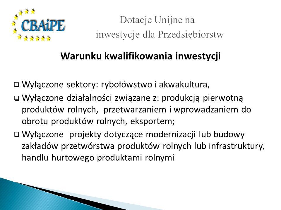Warunku kwalifikowania inwestycji Wyłączone sektory: rybołówstwo i akwakultura, Wyłączone działalności związane z: produkcją pierwotną produktów rolnych, przetwarzaniem i wprowadzaniem do obrotu produktów rolnych, eksportem; Wyłączone projekty dotyczące modernizacji lub budowy zakładów przetwórstwa produktów rolnych lub infrastruktury, handlu hurtowego produktami rolnymi