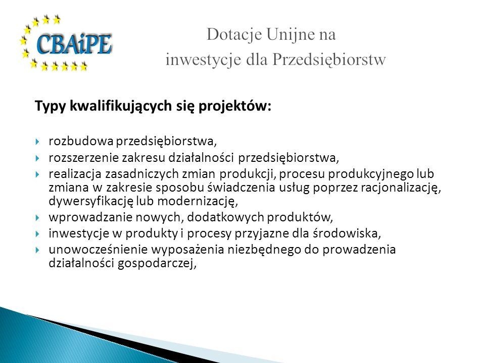 Typy kwalifikujących się projektów: rozbudowa przedsiębiorstwa, rozszerzenie zakresu działalności przedsiębiorstwa, realizacja zasadniczych zmian produkcji, procesu produkcyjnego lub zmiana w zakresie sposobu świadczenia usług poprzez racjonalizację, dywersyfikację lub modernizację, wprowadzanie nowych, dodatkowych produktów, inwestycje w produkty i procesy przyjazne dla środowiska, unowocześnienie wyposażenia niezbędnego do prowadzenia działalności gospodarczej,