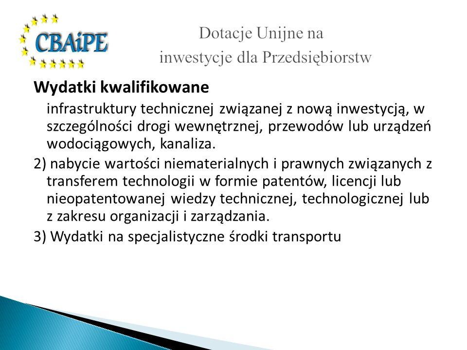 Wydatki kwalifikowane infrastruktury technicznej związanej z nową inwestycją, w szczególności drogi wewnętrznej, przewodów lub urządzeń wodociągowych, kanaliza.