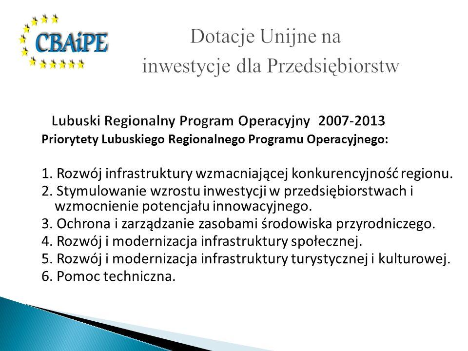 Lubuski Regionalny Program Operacyjny 2007-2013 Priorytety Lubuskiego Regionalnego Programu Operacyjnego: 1.
