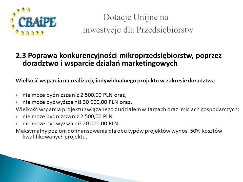 2.3 Poprawa konkurencyjności mikroprzedsiębiorstw, poprzez doradztwo i wsparcie działań marketingowych Wielkość wsparcia na realizację indywidualnego projektu w zakresie doradztwa nie może być niższa niż 2 500,00 PLN oraz, nie może być wyższa niż 30 000,00 PLN oraz, Wielkość wsparcia projektu związanego z udziałem w targach oraz misjach gospodarczych: nie może być niższa niż 2 500,00 PLN nie może być wyższa niż 20 000,00 PLN.