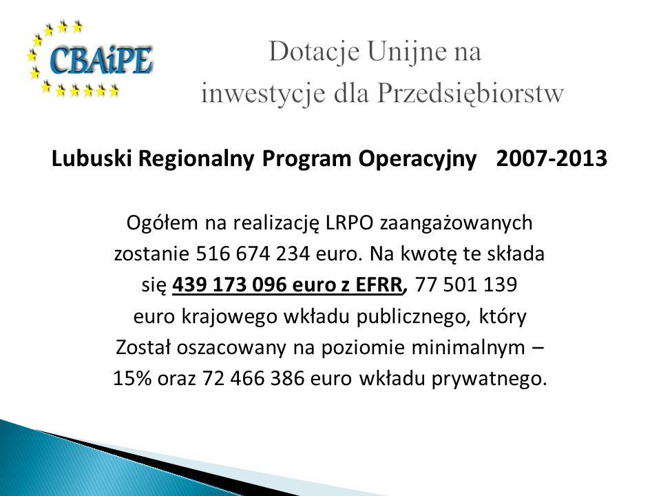 Lubuski Regionalny Program Operacyjny 2007-2013 Ogółem na realizację LRPO zaangażowanych zostanie 516 674 234 euro.