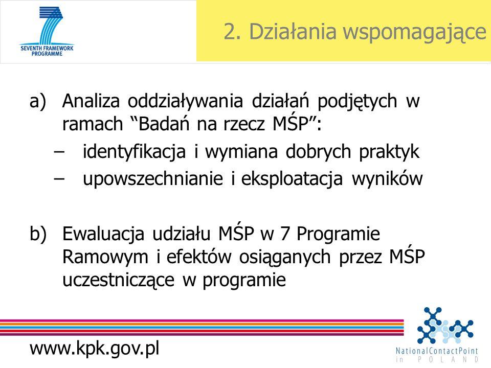 www.kpk.gov.pl 2. Działania wspomagające a)Analiza oddziaływania działań podjętych w ramach Badań na rzecz MŚP: –identyfikacja i wymiana dobrych prakt