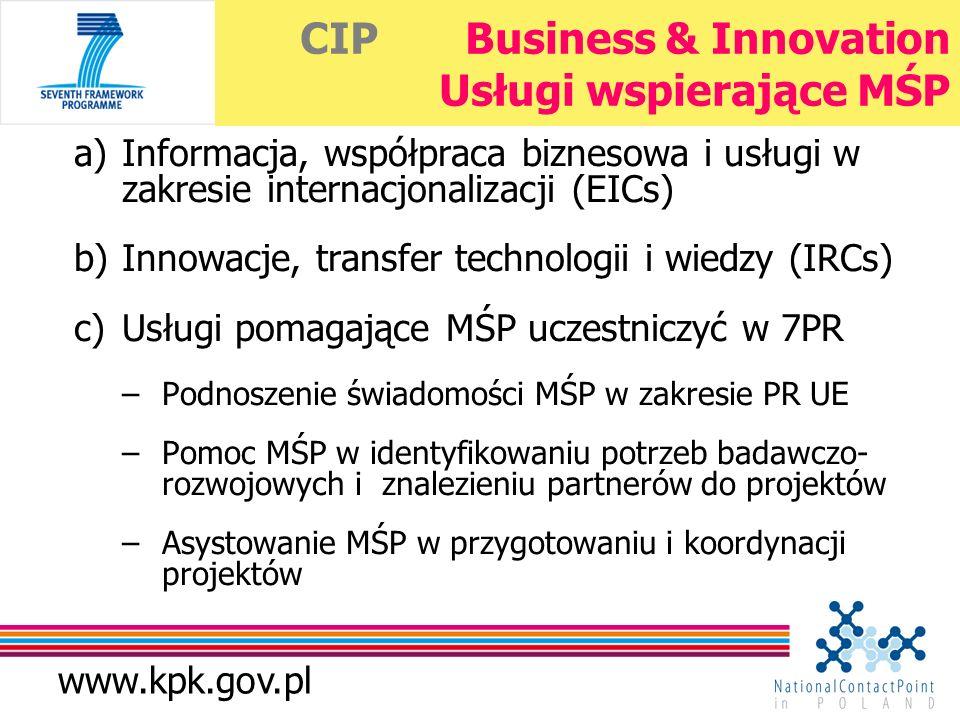 www.kpk.gov.pl CIP Business & Innovation Usługi wspierające MŚP a)Informacja, współpraca biznesowa i usługi w zakresie internacjonalizacji (EICs) b)Innowacje, transfer technologii i wiedzy (IRCs) c)Usługi pomagające MŚP uczestniczyć w 7PR –Podnoszenie świadomości MŚP w zakresie PR UE –Pomoc MŚP w identyfikowaniu potrzeb badawczo- rozwojowych i znalezieniu partnerów do projektów –Asystowanie MŚP w przygotowaniu i koordynacji projektów