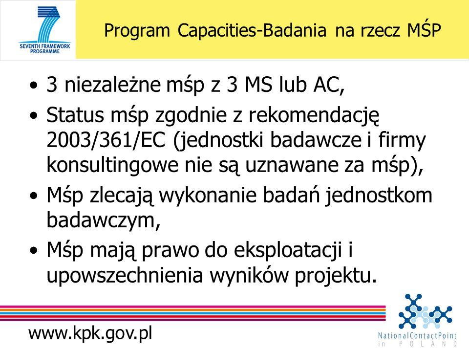 www.kpk.gov.pl Program Capacities-Badania na rzecz MŚP 3 niezależne mśp z 3 MS lub AC, Status mśp zgodnie z rekomendację 2003/361/EC (jednostki badawcze i firmy konsultingowe nie są uznawane za mśp), Mśp zlecają wykonanie badań jednostkom badawczym, Mśp mają prawo do eksploatacji i upowszechnienia wyników projektu.
