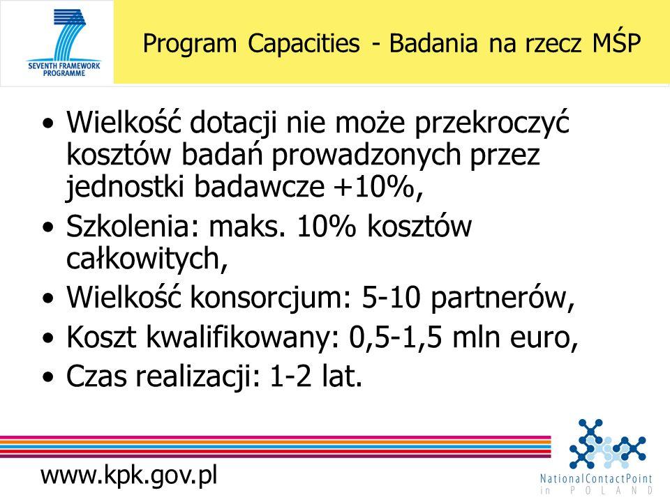 www.kpk.gov.pl Wielkość dotacji nie może przekroczyć kosztów badań prowadzonych przez jednostki badawcze +10%, Szkolenia: maks. 10% kosztów całkowityc