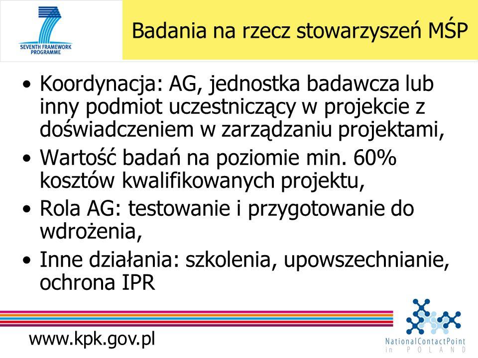 www.kpk.gov.pl Koordynacja: AG, jednostka badawcza lub inny podmiot uczestniczący w projekcie z doświadczeniem w zarządzaniu projektami, Wartość badań
