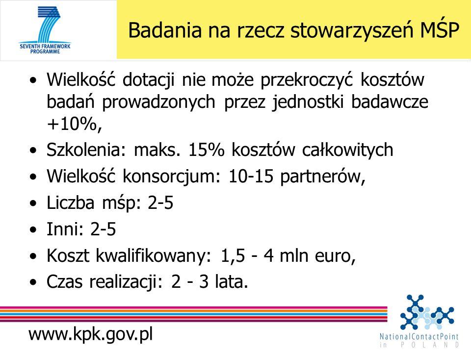 www.kpk.gov.pl Wielkość dotacji nie może przekroczyć kosztów badań prowadzonych przez jednostki badawcze +10%, Szkolenia: maks. 15% kosztów całkowityc