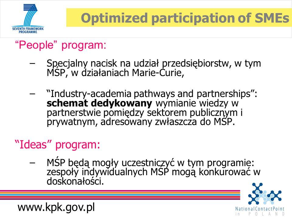 www.kpk.gov.pl People program: –Specjalny nacisk na udział przedsiębiorstw, w tym MŚP, w działaniach Marie-Curie, –Industry-academia pathways and partnerships: schemat dedykowany wymianie wiedzy w partnerstwie pomiędzy sektorem publicznym i prywatnym, adresowany zwłaszcza do MŚP.