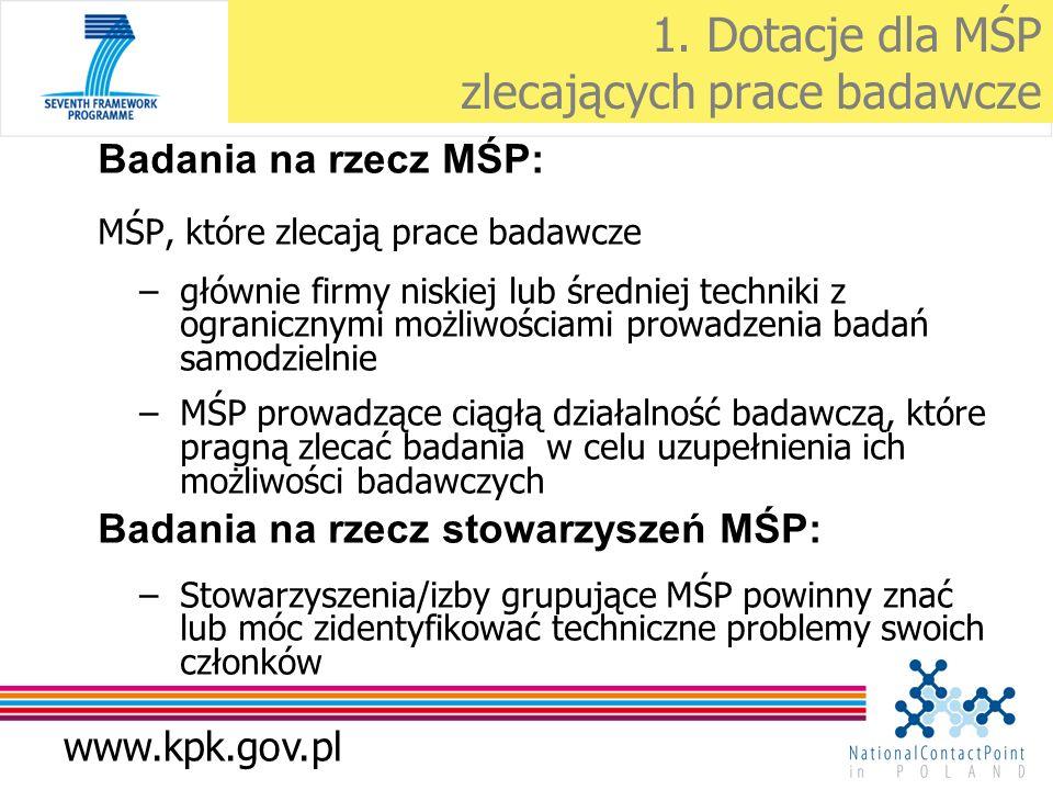 www.kpk.gov.pl 1. Dotacje dla MŚP zlecających prace badawcze Badania na rzecz MŚP: MŚP, które zlecają prace badawcze –głównie firmy niskiej lub średni
