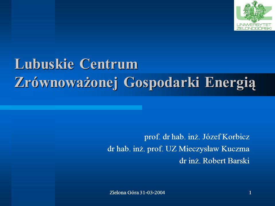 Zielona Góra 31-03-20041 Lubuskie Centrum Zrównoważonej Gospodarki Energią prof.