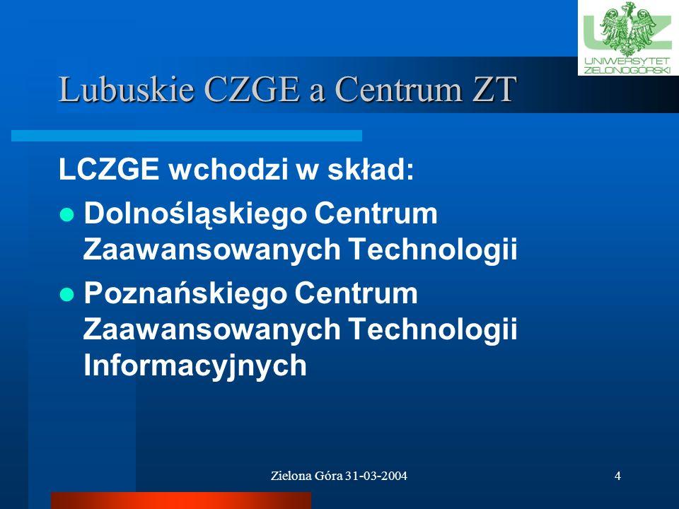 Zielona Góra 31-03-20044 Lubuskie CZGE a Centrum ZT LCZGE wchodzi w skład: Dolnośląskiego Centrum Zaawansowanych Technologii Poznańskiego Centrum Zaawansowanych Technologii Informacyjnych