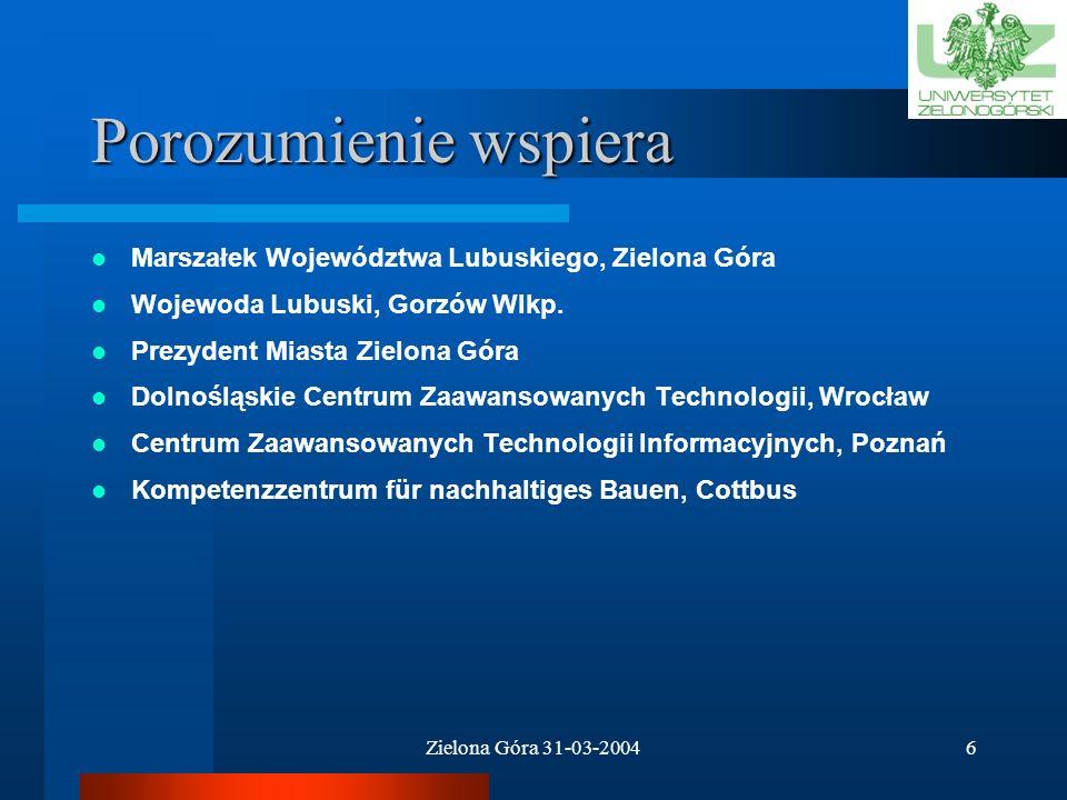 Zielona Góra 31-03-200416 Priorytet 3 – zadania badawcze Internetowy system pomiarowo-sterujący do monitorowania, dystrybucji i zużycia czynników energetycznych lider: dr inż.