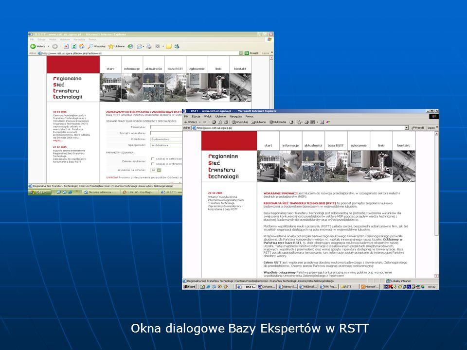 Okna dialogowe Bazy Ekspertów w RSTT
