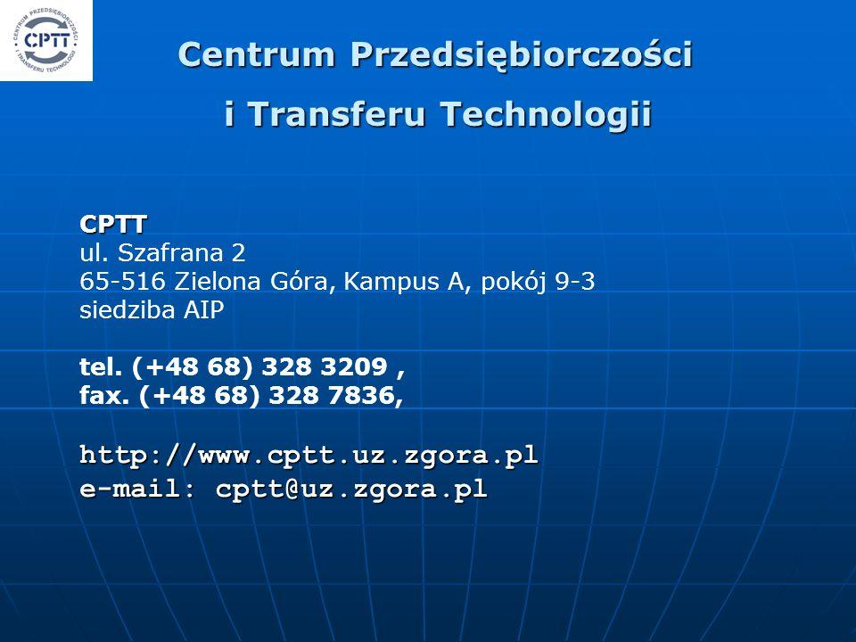 CPTT CPTT ul. Szafrana 2 65-516 Zielona Góra, Kampus A, pokój 9-3 siedziba AIP tel.