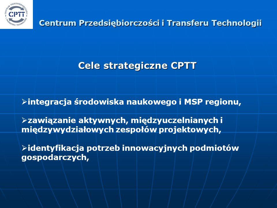 Cele strategiczne CPTT integracja środowiska naukowego i MSP regionu, zawiązanie aktywnych, międzyuczelnianych i międzywydziałowych zespołów projektowych, identyfikacja potrzeb innowacyjnych podmiotów gospodarczych, Centrum Przedsiębiorczości i Transferu Technologii