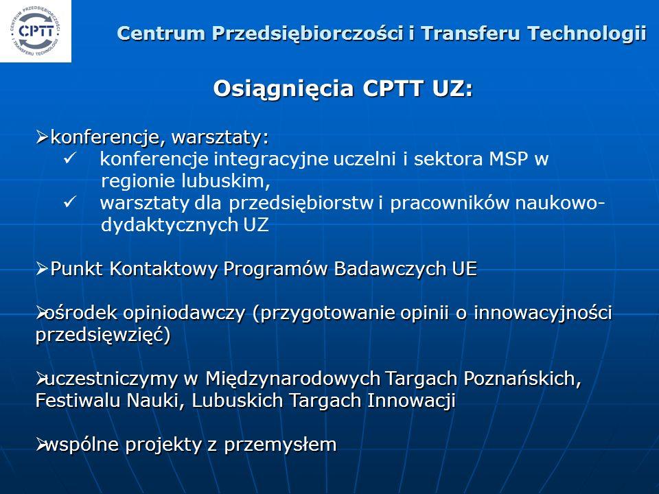Osiągnięcia CPTT UZ: konferencje, warsztaty: konferencje, warsztaty: konferencje integracyjne uczelni i sektora MSP w regionie lubuskim, warsztaty dla przedsiębiorstw i pracowników naukowo- dydaktycznych UZ Punkt Kontaktowy Programów Badawczych UE ośrodek opiniodawczy (przygotowanie opinii o innowacyjności przedsięwzięć) ośrodek opiniodawczy (przygotowanie opinii o innowacyjności przedsięwzięć) uczestniczymy w Międzynarodowych Targach Poznańskich, Festiwalu Nauki, Lubuskich Targach Innowacji uczestniczymy w Międzynarodowych Targach Poznańskich, Festiwalu Nauki, Lubuskich Targach Innowacji wspólne projekty z przemysłem wspólne projekty z przemysłem Centrum Przedsiębiorczości i Transferu Technologii