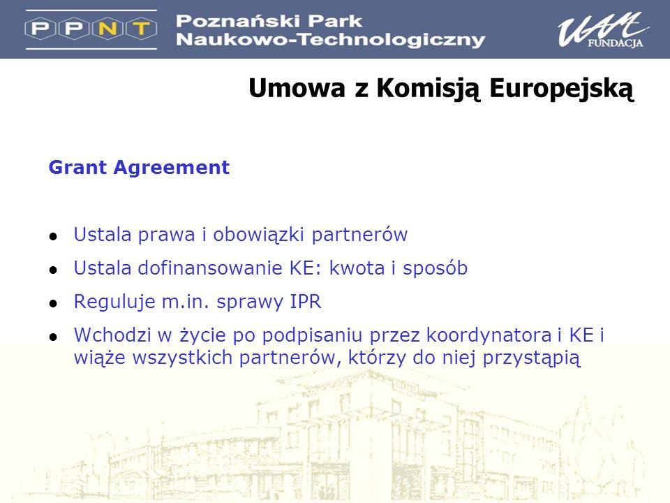 Umowa z Komisją Europejską Grant Agreement l Ustala prawa i obowiązki partnerów l Ustala dofinansowanie KE: kwota i sposób l Reguluje m.in.