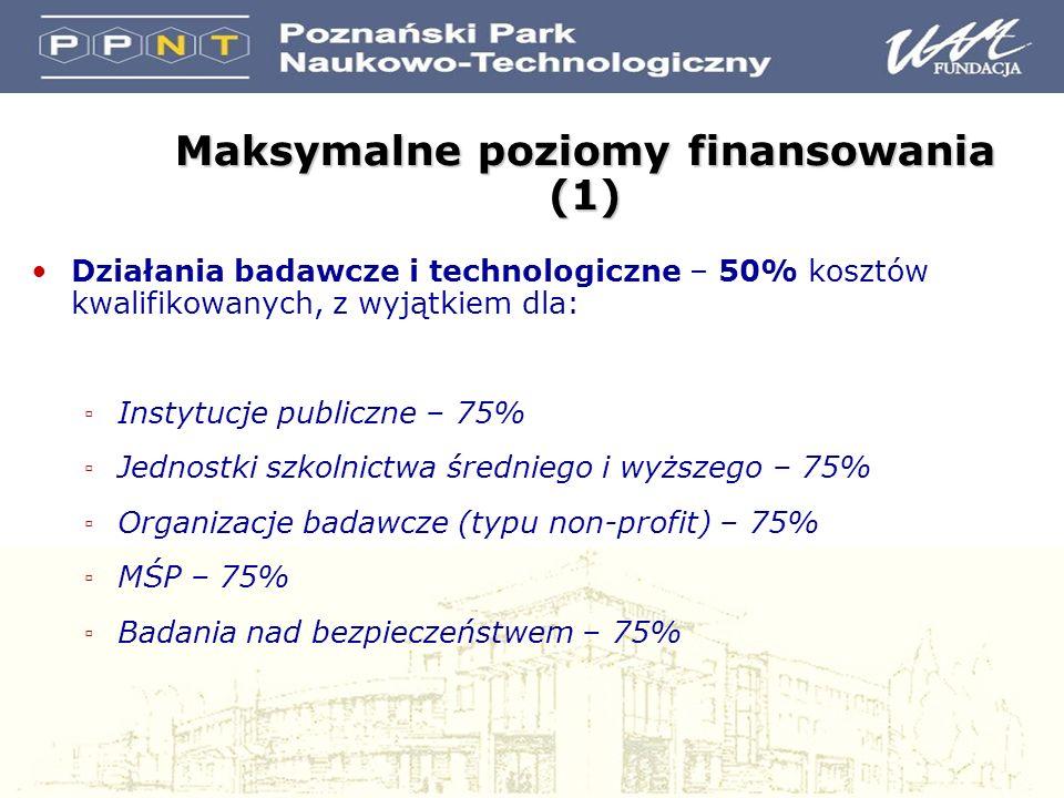 Działania badawcze i technologiczne – 50% kosztów kwalifikowanych, z wyjątkiem dla: Instytucje publiczne – 75% Jednostki szkolnictwa średniego i wyższego – 75% Organizacje badawcze (typu non-profit) – 75% MŚP – 75% Badania nad bezpieczeństwem – 75% Maksymalne poziomy finansowania (1)
