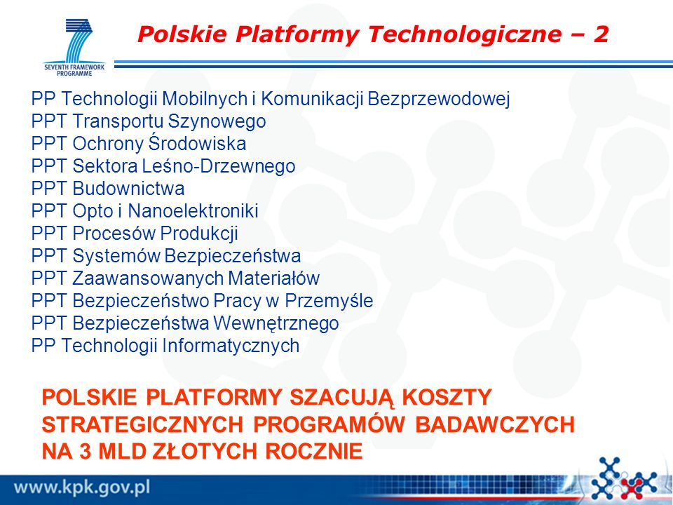 Polskie Platformy Technologiczne – 2 PP Technologii Mobilnych i Komunikacji Bezprzewodowej PPT Transportu Szynowego PPT Ochrony Środowiska PPT Sektora