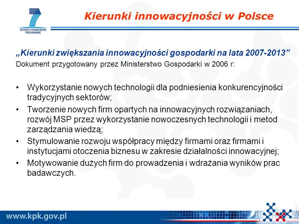 Kierunki innowacyjności w Polsce Kierunki zwiększania innowacyjności gospodarki na lata 2007-2013 Dokument przygotowany przez Ministerstwo Gospodarki