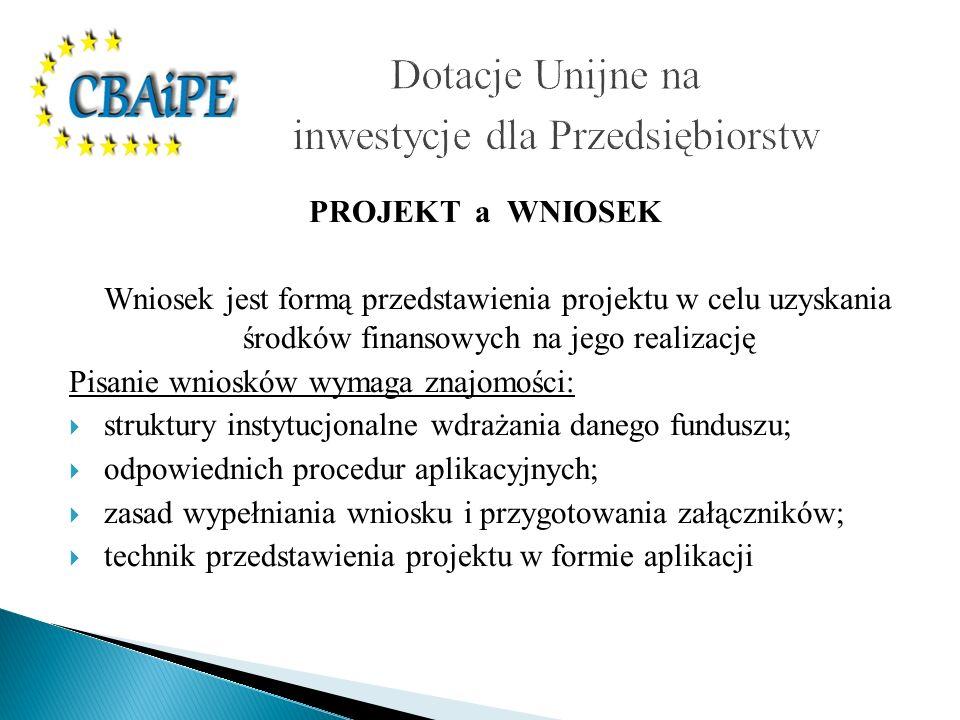 PROJEKT a WNIOSEK Wniosek jest formą przedstawienia projektu w celu uzyskania środków finansowych na jego realizację Pisanie wniosków wymaga znajomośc