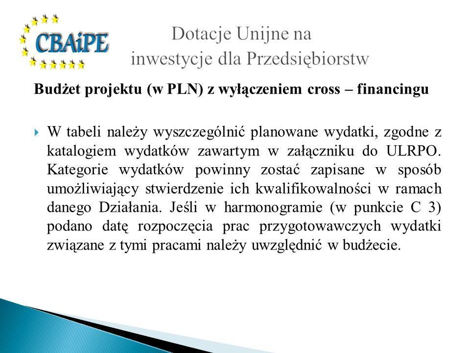 Budżet projektu (w PLN) z wyłączeniem cross – financingu W tabeli należy wyszczególnić planowane wydatki, zgodne z katalogiem wydatków zawartym w załą