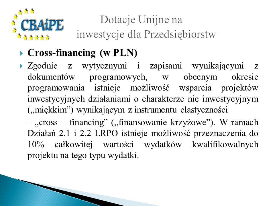 Cross-financing (w PLN) Zgodnie z wytycznymi i zapisami wynikającymi z dokumentów programowych, w obecnym okresie programowania istnieje możliwość wsp